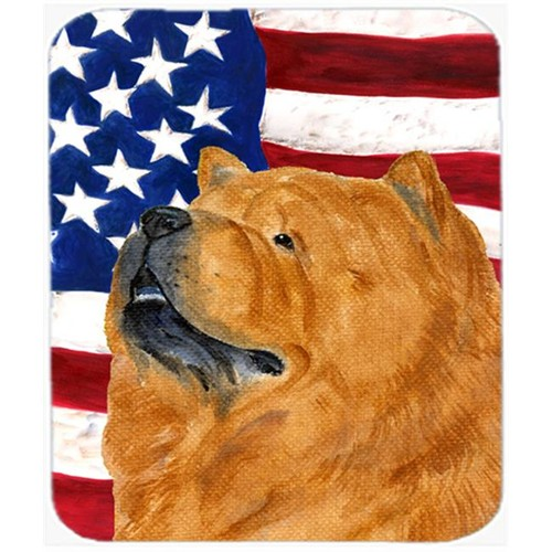 Carolines Treasures SS4029MP Usa American Flag With Chow Chow Mouse Pad Hot Pad Or Trivet