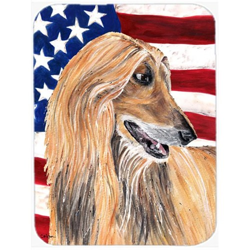 Carolines Treasures SC9506MP 7.75 x 9.25 In. Afghan Hound USA Patriotic American Flag Mouse Pad Hot Pad Or Trivet