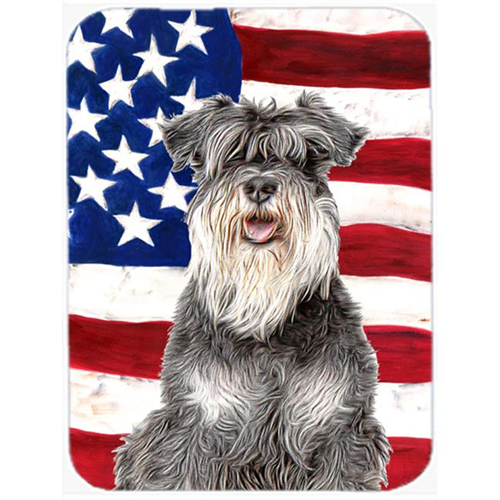 Carolines Treasures KJ1157MP USA American Flag with Schnauzer Mouse Pad Hot Pad or Trivet