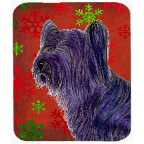 Carolines Treasures SS4670MP Skye Terrier Red and Green Snowflakes Christmas Mouse Pad Hot Pad or Trivet