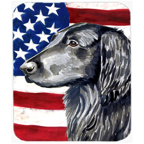Carolines Treasures LH9021MP Usa American Flag With Flat Coated Retriever Mouse Pad Hot Pad Or Trivet