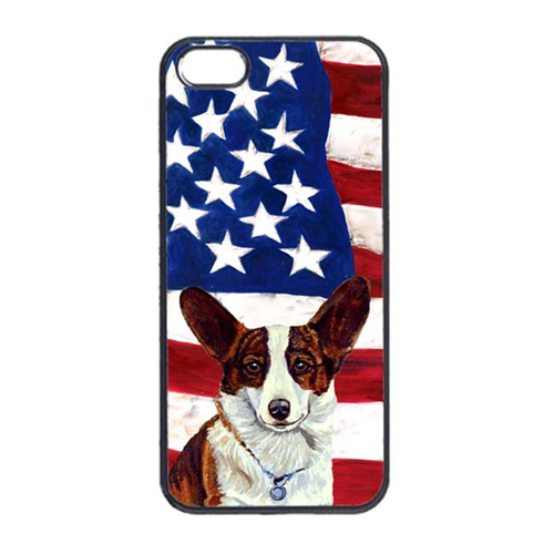 Carolines Treasures LH9011IP4 USA American Flag With Corgi Iphone 4 Cover