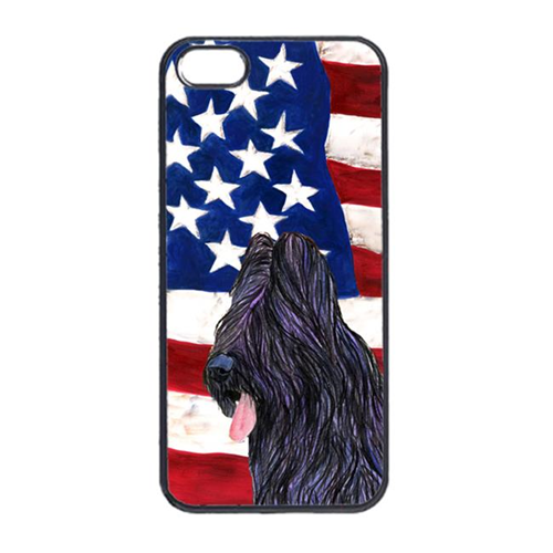 Carolines Treasures SS4052IP4 USA American Flag With Briard Iphone 4 Cover