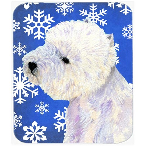 Carolines Treasures LH9270MP Westie Winter Snowflakes Holiday Mouse Pad Hot Pad Or Trivet