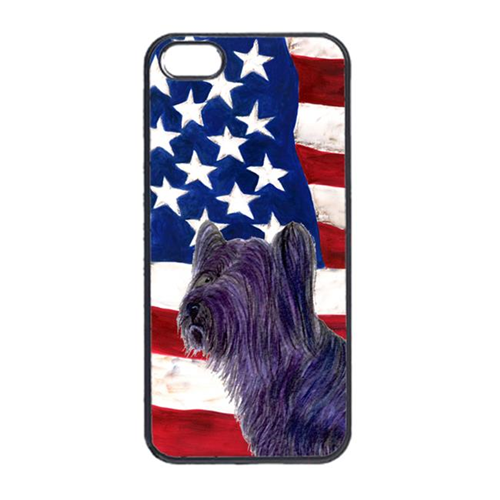 Carolines Treasures SS4219IP4 USA American Flag With Skye Terrier Iphone 4 Cover
