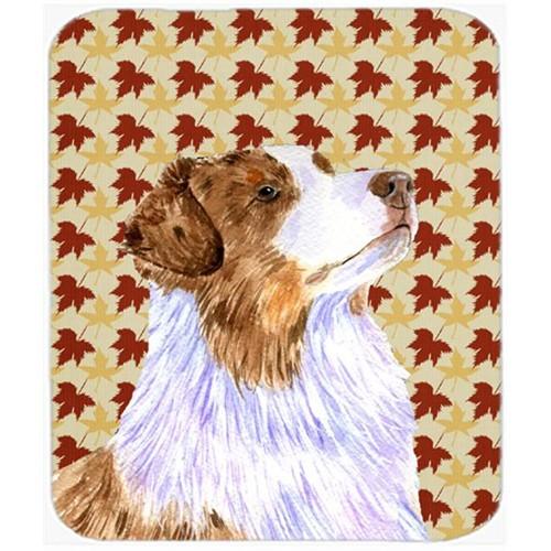 Carolines Treasures LH9093MP Australian Shepherd Fall Leaves Portrait Mouse Pad Hot Pad Or Trivet