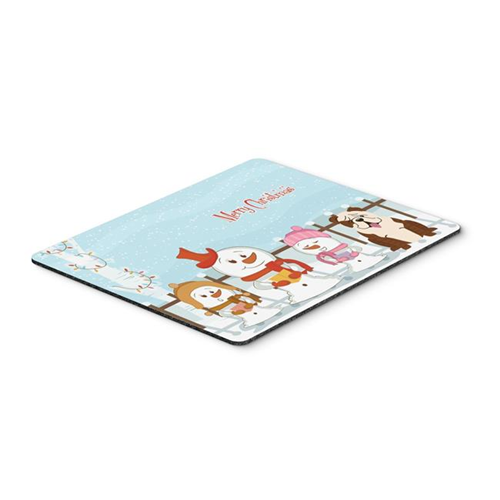 Carolines Treasures BB2452MP Merry Christmas Carolers English Bulldog Brindle White Mouse Pad Hot Pad or Trivet