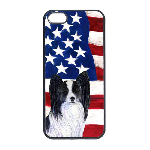Carolines Treasures SS4032IP4 USA American Flag With Papillon Iphone 4 Cover