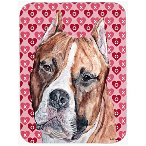 Carolines Treasures SC9704MP Staffordshire Bull Terrier Staffie Hearts And Love Mouse Pad Hot Pad Or Trivet 7.75 x 9.25 In.
