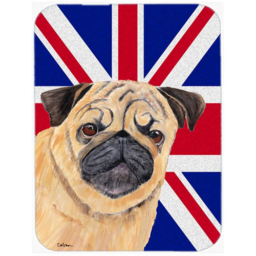 Carolines Treasures SC9828MP 7.75 x 9.25 In. Pug With English Union Jack British Flag Mouse Pad Hot Pad Or Trivet