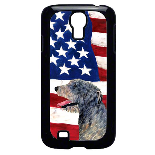 Carolines Treasures SS4033GALAXYS4 USA American Flag with Irish Wolfhound Cell Phone Cover GALAXY S4