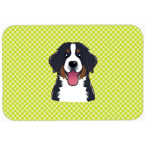 Carolines Treasures BB1299MP Checkerboard Lime Green Bernese Mountain Dog Mouse Pad Hot Pad Or Trivet 7.75 x 9.25 In.