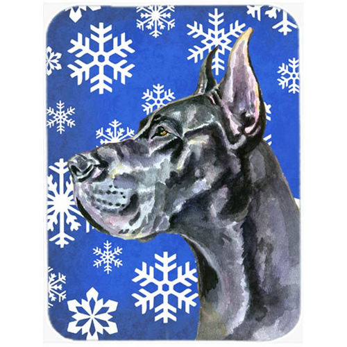 Carolines Treasures LH9585MP Black Great Dane Winter Snowflakes Holiday Mouse Pad Hot Pad & Trivet