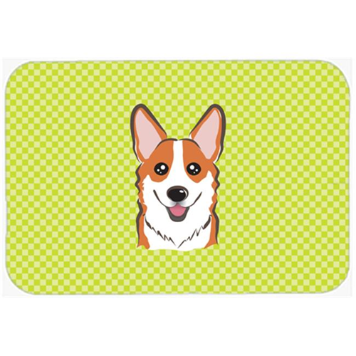 Carolines Treasures BB1316MP Checkerboard Lime Green Corgi Mouse Pad Hot Pad Or Trivet 7.75 x 9.25 In.