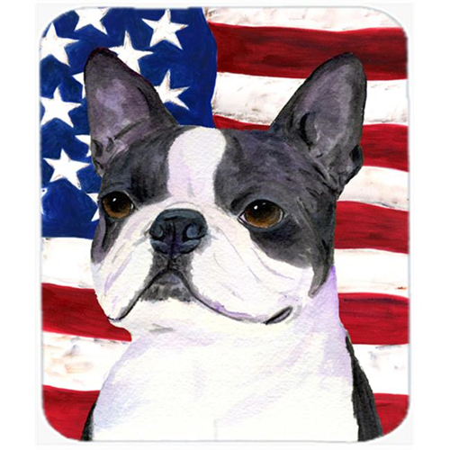 Carolines Treasures SS4021MP Usa American Flag With Boston Terrier Mouse Pad Hot Pad Or Trivet