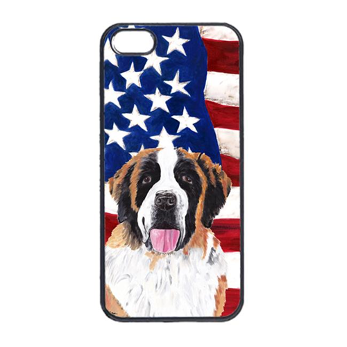 Carolines Treasures SC9027IP4 USA American Flag With Saint Bernard Iphone 4 Cover