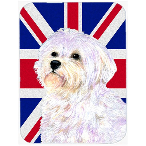 Carolines Treasures SS4923MP 7.75 x 9.25 In. Maltese With English Union Jack British Flag Mouse Pad Hot Pad Or Trivet