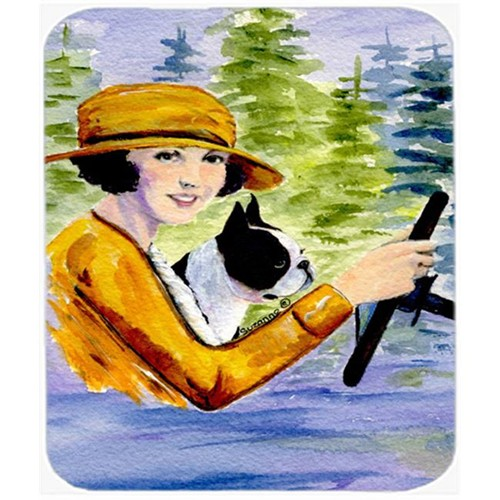 Carolines Treasures SS8534MP Woman Driving With Her Boston Terrier Mouse Pad Hot Pad or Trivet