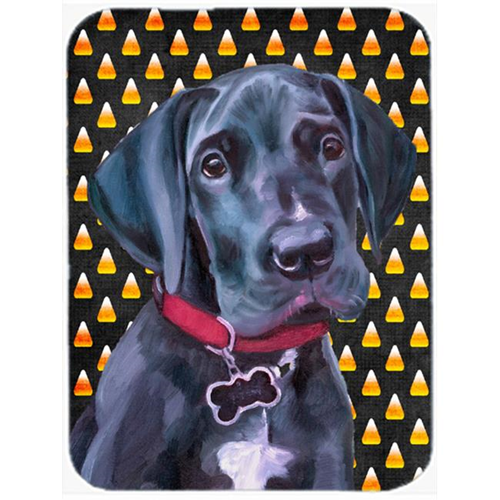 Carolines Treasures LH9551MP Black Great Dane Puppy Candy Corn Halloween Mouse Pad Hot Pad & Trivet