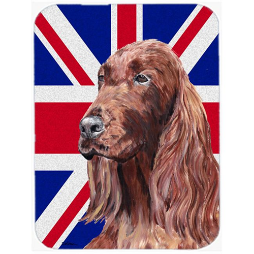 Carolines Treasures SC9870MP 7.75 x 9.25 In. Irish Setter With Engish Union Jack British Flag Mouse Pad Hot Pad Or Trivet