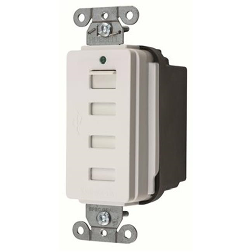 USB4W Hubbell Style Line Decorator USB Charger Outlet, White