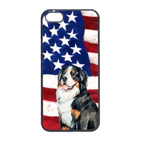 Carolines Treasures LH9003IP4 USA American Flag With Bernese Mountain Dog Iphone 4 Cover