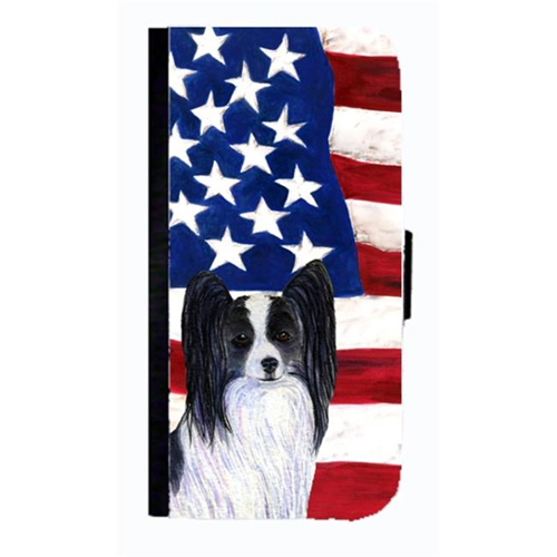 Carolines Treasures SS4032NBGALAXYS4 USA American Flag With Papillon Cell Phonebook Case Cover For Galaxy 4S