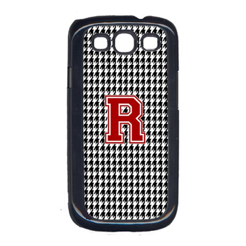 Carolines Treasures CJ1021-R-GALAXYSIII Houndstooth Black Letter R Monogram Initial Galaxy S111 Cell Phone Cover