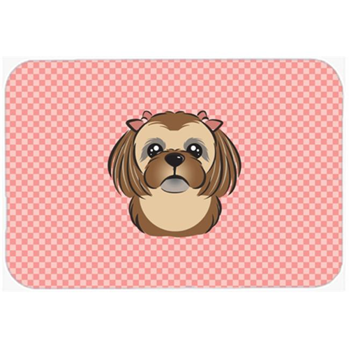 Carolines Treasures BB1249MP Checkerboard Pink Chocolate Brown Shih Tzu Mouse Pad Hot Pad Or Trivet 7.75 x 9.25 In.