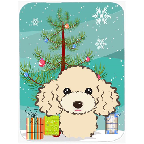 Carolines Treasures BB1630MP Christmas Tree And Buff Poodle Mouse Pad Hot Pad & Trivet