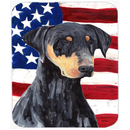 Carolines Treasures SC9030MP Usa American Flag With Doberman Mouse Pad Hot Pad Or Trivet