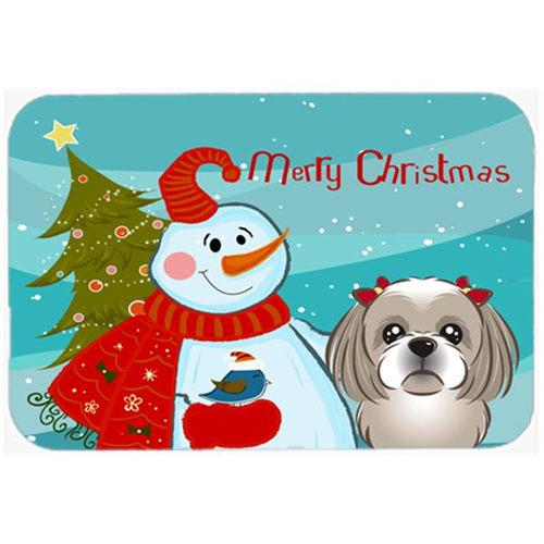 Carolines Treasures BB1870MP Snowman With Gray Silver Shih Tzu Mouse Pad Hot Pad & Trivet