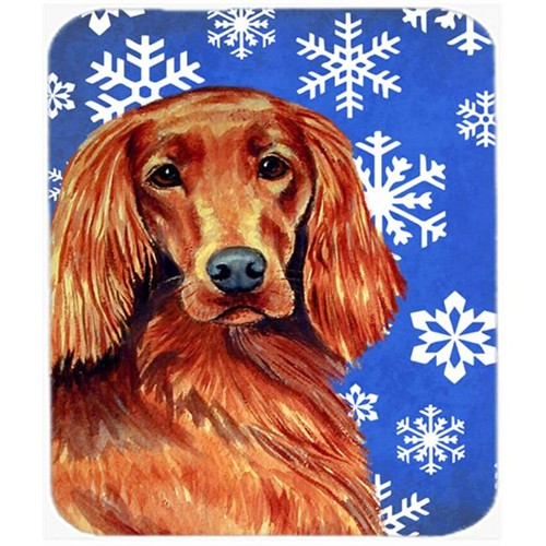 Carolines Treasures LH9299MP Irish Setter Winter Snowflakes Holiday Mouse Pad Hot Pad Or Trivet