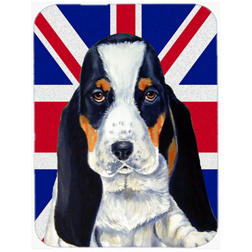 Carolines Treasures LH9481MP 7.75 x 9.25 In. Basset Hound With English Union Jack British Flag Mouse Pad Hot Pad Or Trivet
