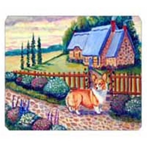 Carolines Treasures 7168MP 8 x 9.5 in. Pembroke Corgi at the Cottage Mouse Pad Hot Pad Or Trivet