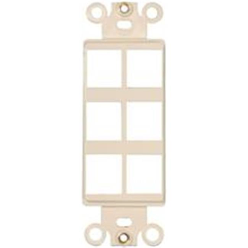 Morris Products 88130 Decorator Wallplate For Keystone Jacks And Modular Inserts Six Ports Lt. Almond