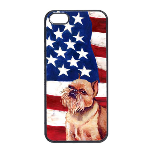 Carolines Treasures LH9023IP4 USA American Flag With Brussels Griffon Iphone 4 Cover