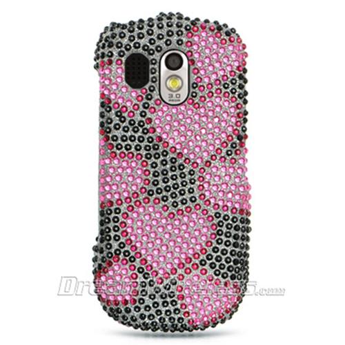 DreamWireless FDSAMR850BKHPH Samsung R850 Caliber Full Diamond Case Black With Hot Pink Heart