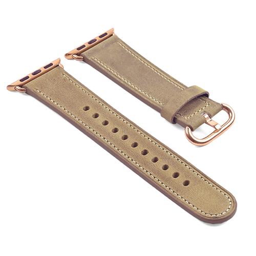 e44b83faf DASSARI Genuine Italian Vintage Leather Strap for 42mm Apple Watch Band w/ Rose  Gold Buckle in Beige | Best Buy Canada