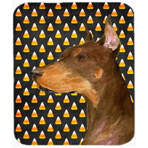 Carolines Treasures SS4261MP Doberman Candy Corn Halloween Portrait Mouse Pad Hot Pad Or Trivet