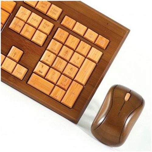 Impecca USA KBB604CW Bamboo wirelessKeyboard and Mous