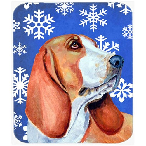 Carolines Treasures LH9287MP Basset Hound Winter Snowflakes Holiday Mouse Pad Hot Pad Or Trivet