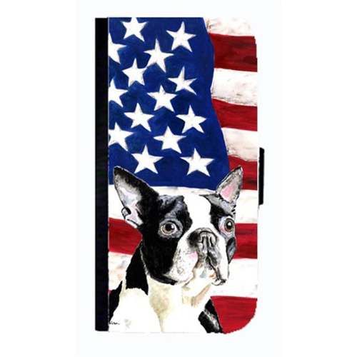 Carolines Treasures SC9001NBGALAXYS4 USA American Flag With Boston Terrier Cell Phonebook Case Cover For Galaxy 4S