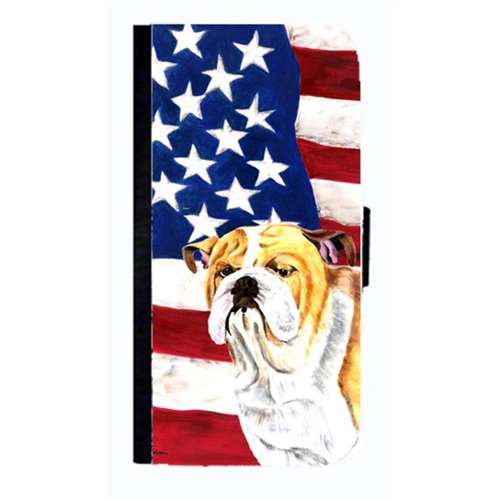 Carolines Treasures SC9002NBGALAXYS4 USA American Flag With Bulldog English Cell Phone Case Cover For Galaxy 4S