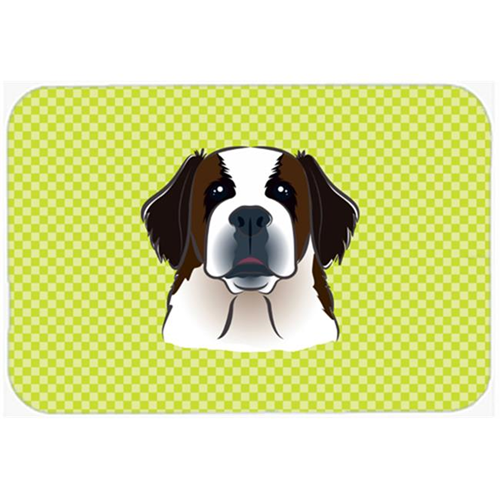 Carolines Treasures BB1308MP Checkerboard Lime Green Saint Bernard Mouse Pad Hot Pad Or Trivet 7.75 x 9.25 In.