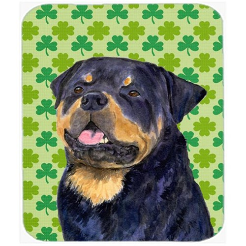 Carolines Treasures SS4455MP Rottweiler St. Patricks Day Shamrock Portrait Mouse Pad Hot Pad Or Trivet