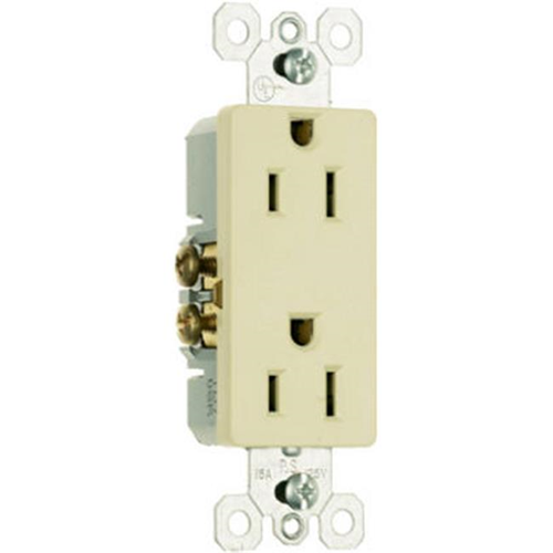 Pass & Seymour 885ICP8 15A 125V 2 Pole 3 Wire Grounding Premium Decorator Outlet Ivory 10 Pack