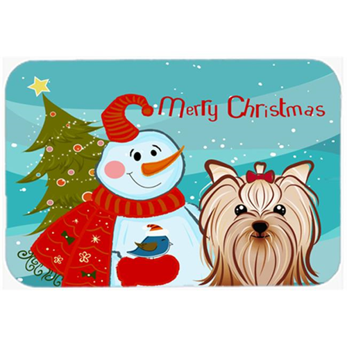 Carolines Treasures BB1824MP Snowman With Yorkie Yorkishire Terrier Mouse Pad Hot Pad & Trivet