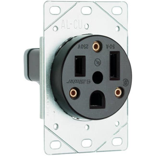 Pass & Seymour 3804CC6 Flush Mount Power Outlet 50A Black