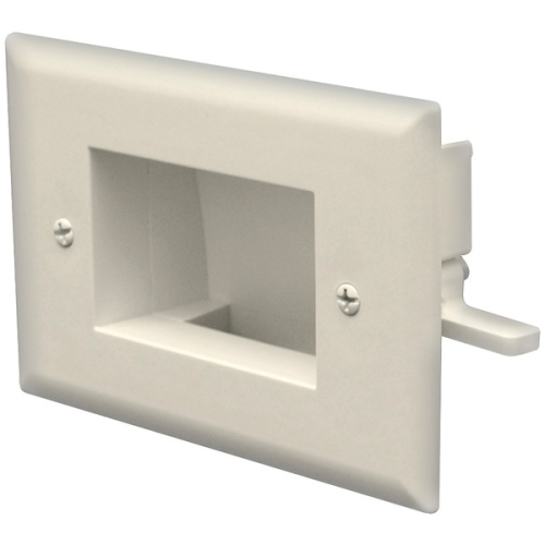 DataComm Electronics 45-0008-IV Easy Mount Recessed Low Voltage Cable Plate - Ivory